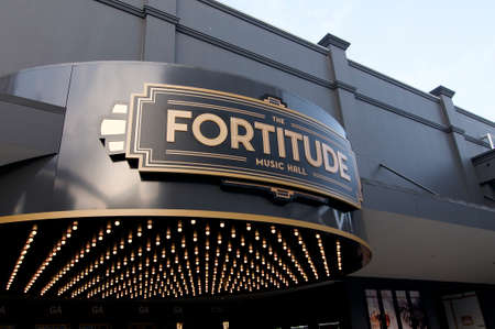 Brisbane, Queensland, Australia - 13th November 2019 : View of the Art Deco inspired Fortitude music hall entrance located in Fortitude Valley district in Brisbane, Australia