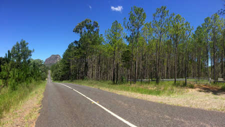 Beautiful panoramic view of the Mt. Tibrogargan of the famous Glass House moutains, seen from the Marshs road located in the Village of Glass House Mountains in Australia