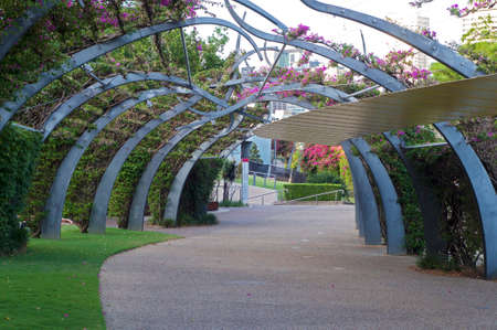 View of the Grand Arbour structure in South Bank parklands in Brisbane without people walking Foto de archivo