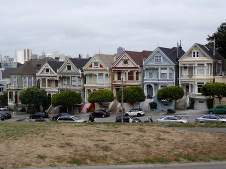 San Francisco, California, USA - 23rd May 2015 : View of the Painted Ladies houses, the famous row of Victorian houses in San Francisco.