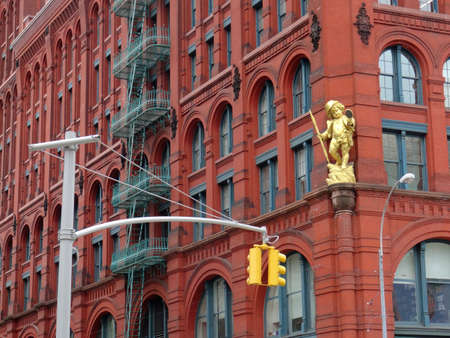 View of the famous Puck building with gilded statue of Shakespeare's character Puck at Wagner Graduate School of Public Service in Lower Manhattan