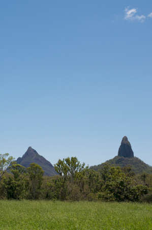 Beautiful scenic view of Mt. Coonowrin and Mt. Beerwah of the Glass House Mountains located in Queensland, Australia