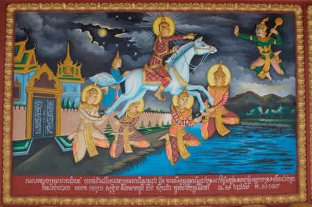 Siem Reap, Cambodia - 2nd January 2019 : Masterpiece art work painting about Buddha story on Wat Preah Prom Rath temple in Siem Reap city, Cambodia