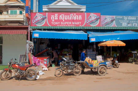 Otres Beach, Sihanoukville, Cambodia - 30th December 2018 : View of a typical cambodian grocery shop located in the village of Otres Beach near Sihanoukville