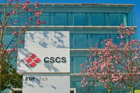 Lugano, Switzerland - 21st March 2021 : View of the Swiss national supercomputing center sign in front of the building entrance in Lugano, Switzerland. The center is run by ETH Zurich University