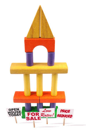 Toy blocks stacked like a tower with pillars Stock Photo - 4496736