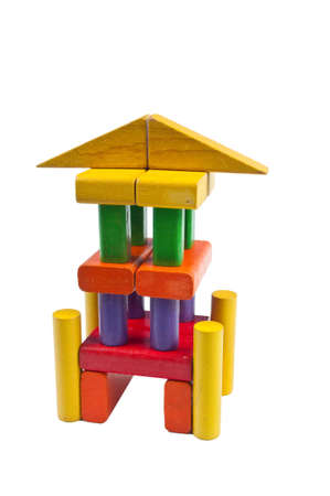 Toy blocks stacked like a tower with pillars