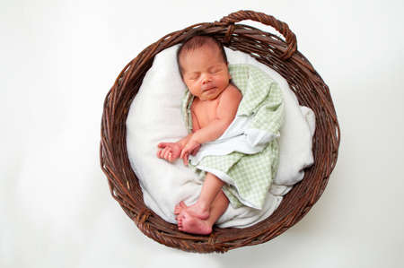 basket: Beautiful newborn baby lying in a basket