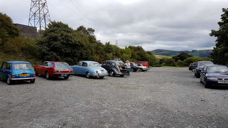 Bala, Gwynedd, Wales, UK - August 20, 2018: Classic cars parked. Editorial