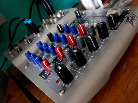 Manchester, England, UK - October 03, 2018: Close-up shot of a Peavey mixing desk.