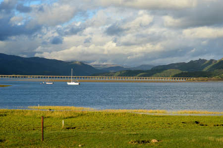 View of Barmouth bridge landscape in Wales.