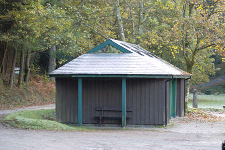 North Wales, United Kingdom - 10/29/2018: Rustic building in deserted Welsh country park.