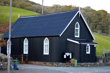 North Wales, United Kingdom - 10/29/2018: Tin tabernacle. A prefabricated ecclesiastical Church building in Wales.