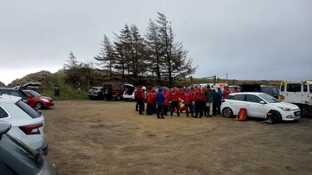 North Wales, United Kingdom - 10/21/2018: UK mountain rescue training group meeting.
