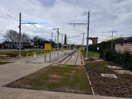 Manchester, England, United Kingdom - 04/02/2020: Trafford Centre deserted tram station due to coronavirus (COVID-19). Éditoriale