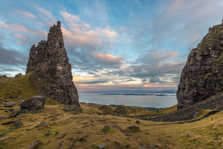 skye: The old man of Storr (partly in view on the right) overlooks the sea across to the Scottish Mainland. Skye, January.