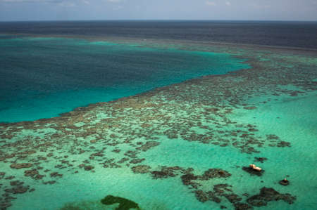 coral reef fish: View from Sanganeb lighthouse of healthy coral reef. Facts: The reef provides sheltered areas (lighter coloured sandy patches) for nursery grounds for coral reef fish and invertebrates. Sudan, Red Sea. December Stock Photo