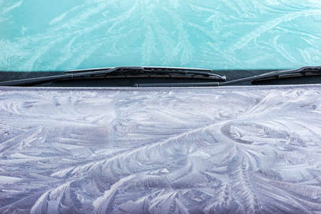 windshield: Ice crystals in intricate detail on a car windshield. Brecon Beacons, February