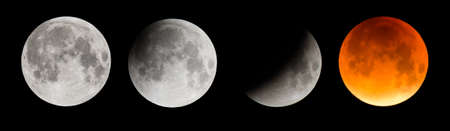 lunar eclipse: Four stages of the moon, resulting in a Supermoon, during a total lunar eclipse in Wales, September Stock Photo