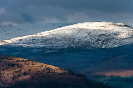 brecon beacons: Telephoto landscape of the Black Mountains in the Brecon Beacons National Park. View from Llangynidr. February