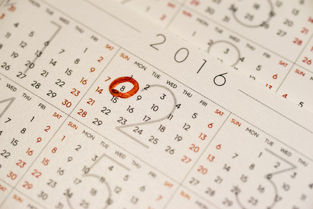 marking up: Close up of the calendar page marking February 8, Chinese New Year Stock Photo