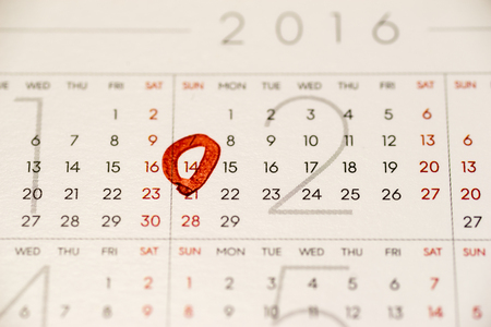 Close up of the calendar showing February 14, Valentine's day