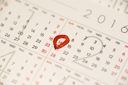february 14: Close up of the calendar showing February 14, Valentines day Stock Photo