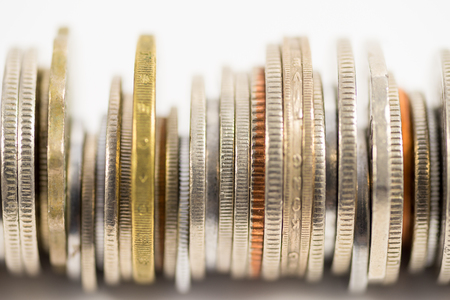 Finance image, various coins Stock Photo