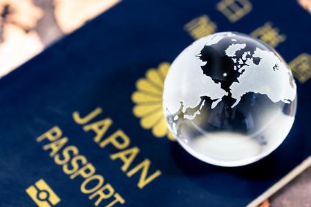 Crystal globe on japanese passport