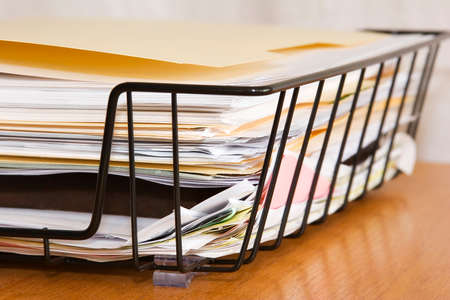 drudgery: Papers Right Corner Stock Photo