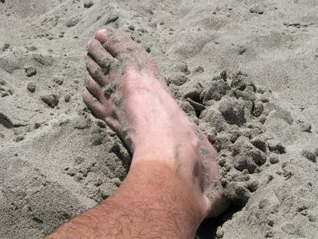 dirty feet: Sock Line Stock Photo