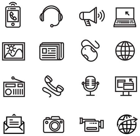 IOS 7 line style icons - Communication icons Vector