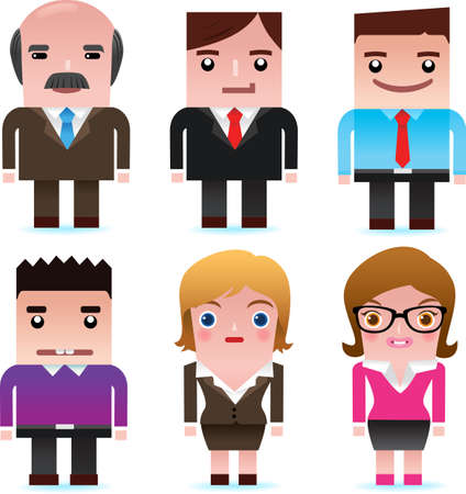 clerk: Vector icons of business man and woman, including boss, manager, clerk, secretary, business lady