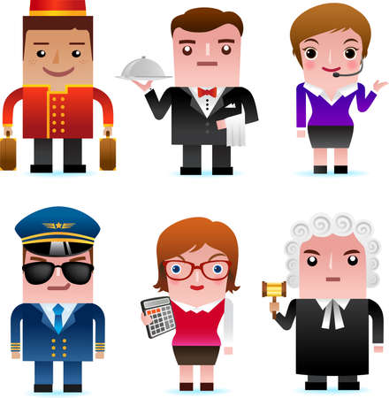 porter: People and professional occupation icons, including porter, waiter, customer service representative, pilot, accountant, judge Illustration