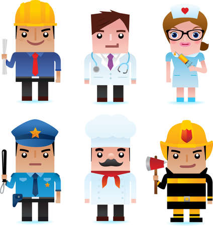 People and professional occupation icons, including engineer, doctor, nurse, policeman, chef, fire officer Vector