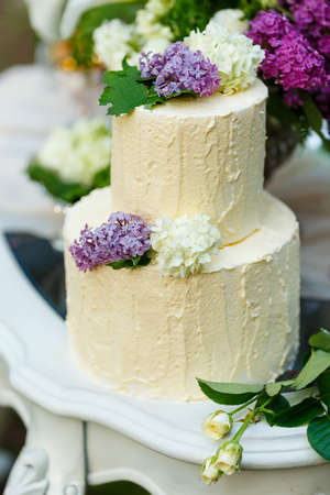multilevel: The multilevel wedding cake with lilac on the table. Stock Photo