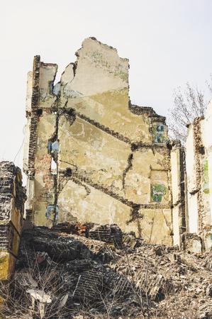 earthquake crack: Ruined school building