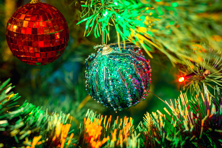 christmas bubble and christmas tree to celebrate new year toned style photo stock photo