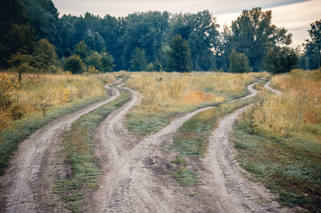 Crossroads, two different directions in the field at summertime. Concept of choose the correct way.