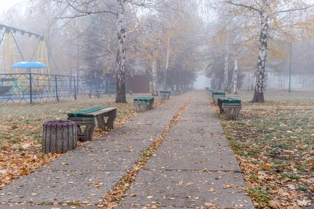 Benches in an old abandoned amusement park on a foggy autumn morning. Foto de archivo - 129843886