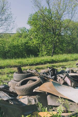 A pile of garbage auto parts in the forest. Environmental pollution.