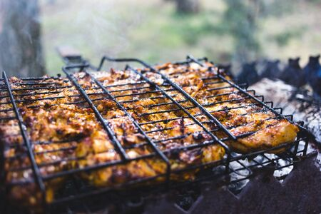 Grilled marinated chicken on a metal grid. Archivio Fotografico