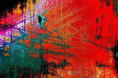 Abstract color scratch background in rainbow style. Grunge wallpaper for design. Stockfoto