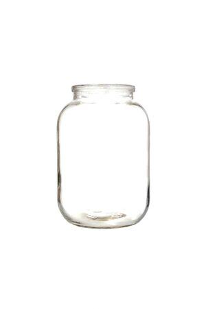 Empty glass jar on white background.