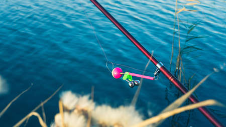 Fishing rod with a bell on the lake in the autumn. Toned photo with the vignetting. 免版税图像