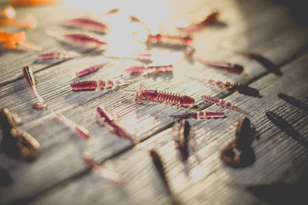 Nice view of fishing silicone baits on a wooden background. Studio photo