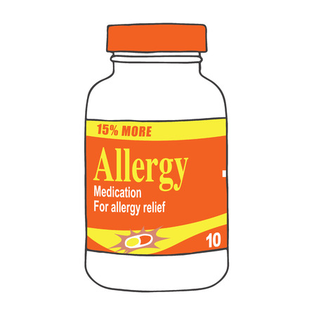 itch: Allergy Medication for when you Get Itchy, Watery Eyes, Sneeze, and Cough from Seasonal Allergies. The Capsules, Gel Tabs, or Tablets will Make Feel Healthy and Strong. The Drug Relieves Allergies! Illustration
