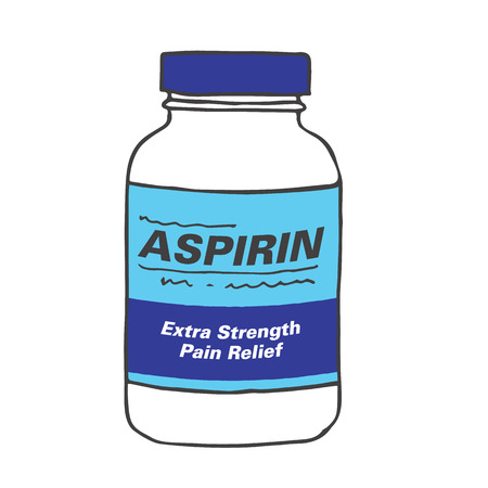 Aspirin Bottle for when you Get Hurt or Sick on the Job or Have Back Pain or Even a Simple Headache. The Capsules, Gel Tabs, or Tablets will Make Feel Healthy and Strong. The Drug Relieves Pain! Ilustração