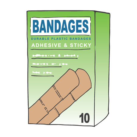 scrape: Waterproof Adhesive Bandages for when you get a Cut or Scrape on your Skin.  This Off-Brand or Generic Bandages Concept Will Look Great in Your First Aid, Doctor, or Hospital Graphic