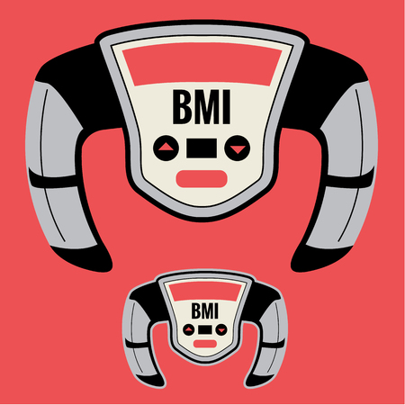 overeating: BMI Machine that Measures your Fatness or Pudge Factor, including Chunky Large Obesity Level based on your Height to Weight Ratio. Can Help Improve your Health by Knowledge of Body Mass Index Number. Illustration